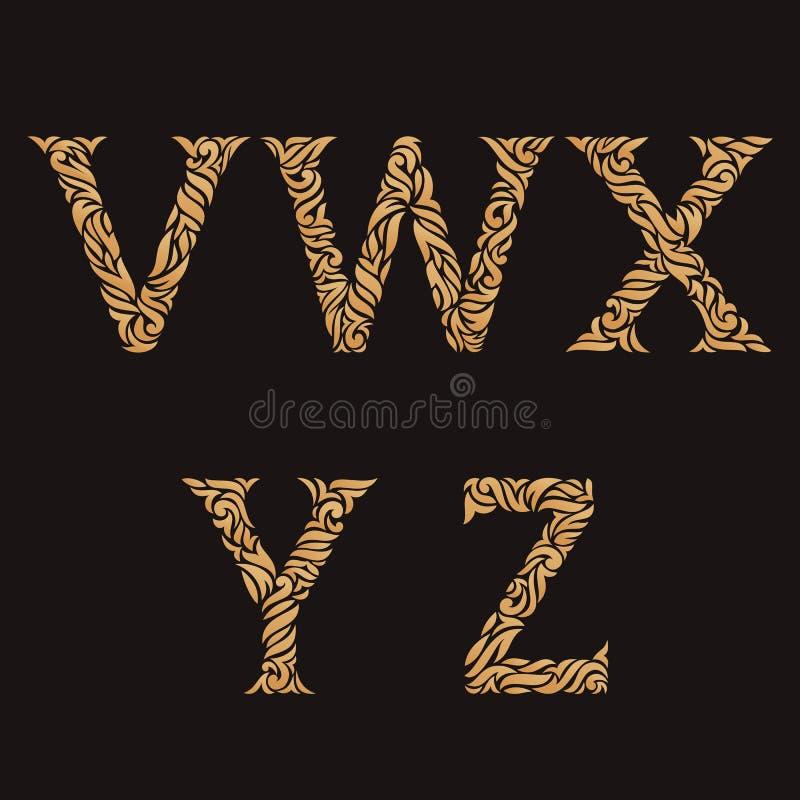 Letras iniciais decorativas Monogramas dourados ornamentado ilustração royalty free