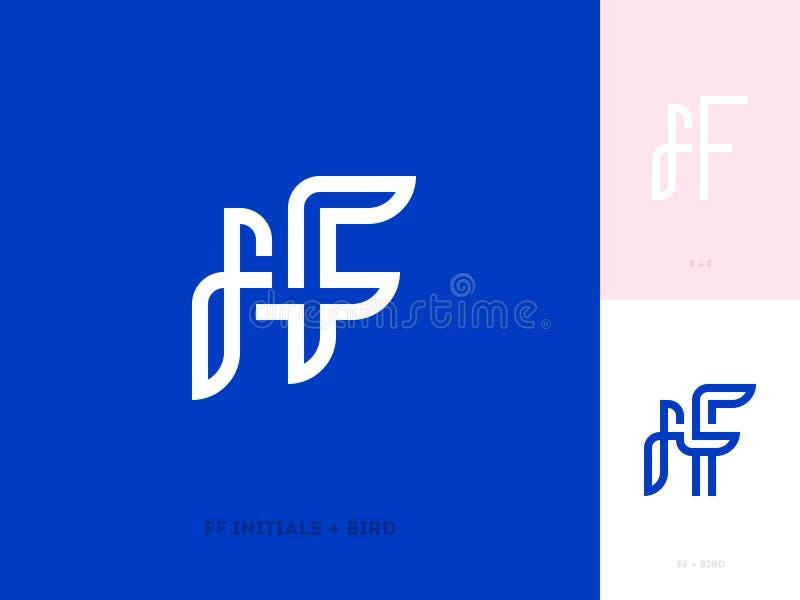Letras iniciais e pássaro do FF Linha lisa molde ou ícone do logotipo ilustração stock