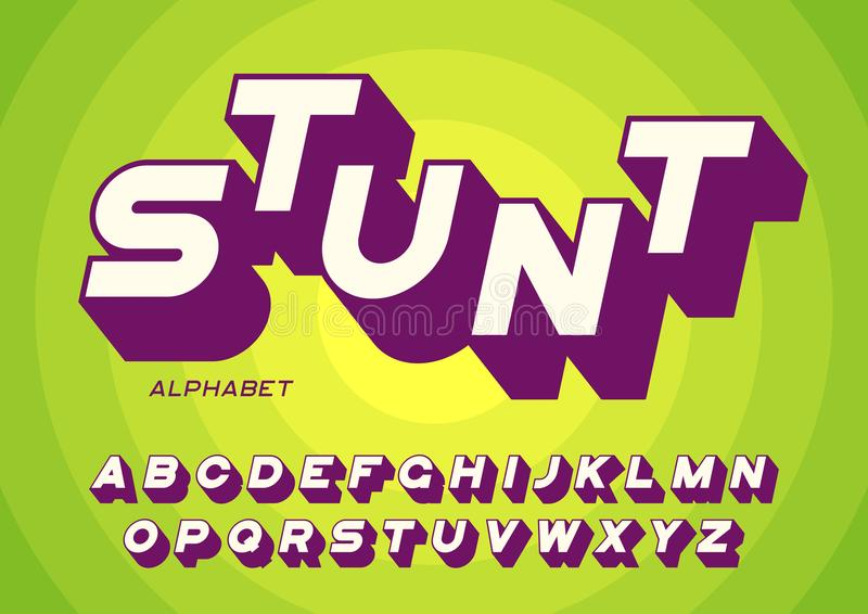 Letras intrépidas diseñadas de sans serif con la sombra larga libre illustration