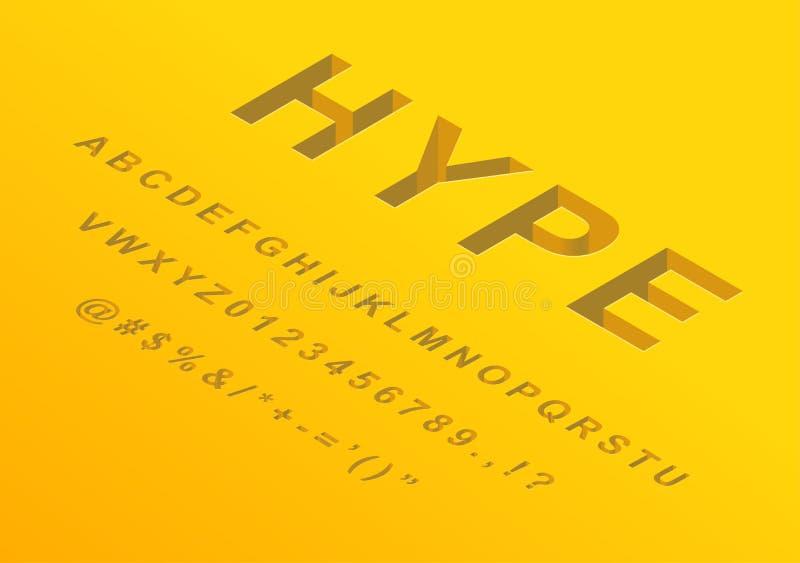 Letras isométricas do alfabeto do projeto da fonte 3d ilustração royalty free