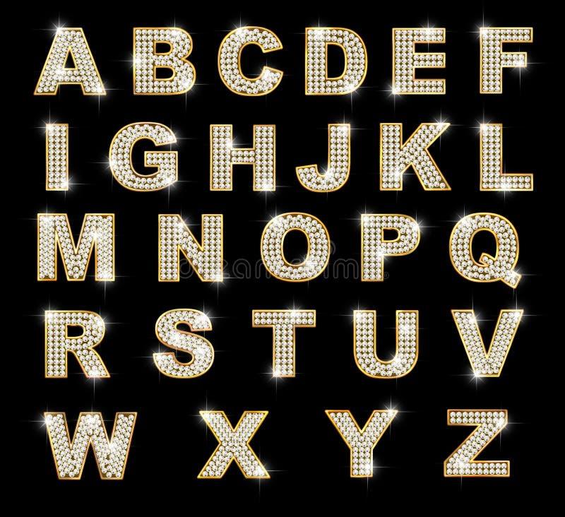 Letras latin brilhantes no fundo escuro ilustração stock