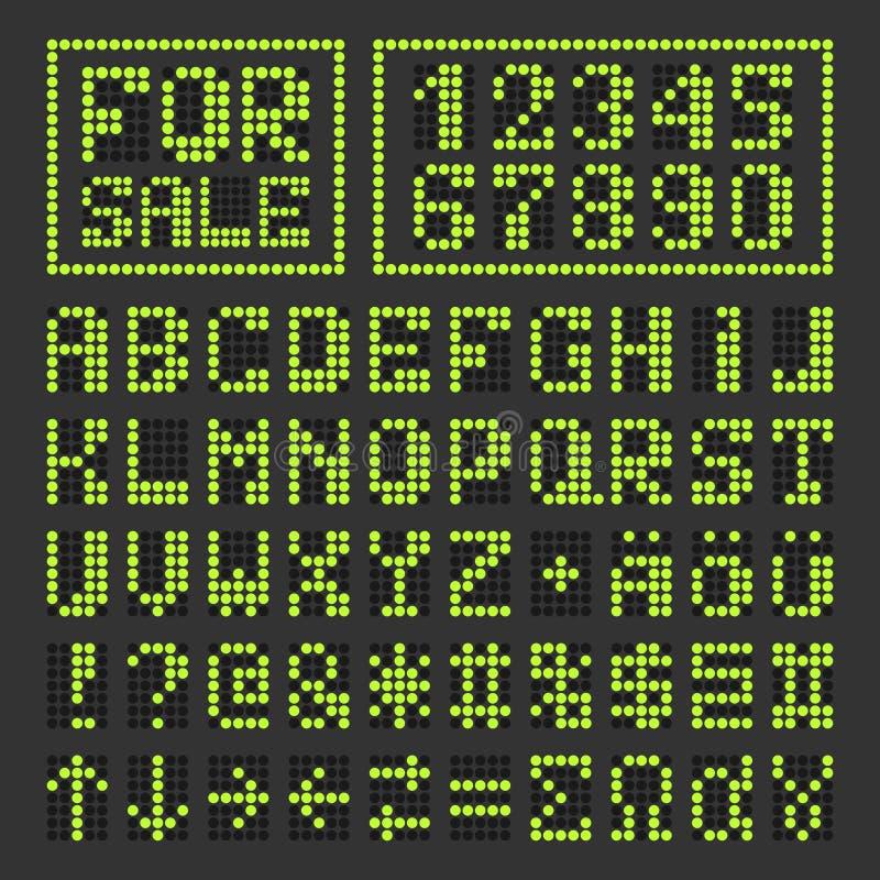 Letras latin e números digitais conduzidos pontilhados da fonte ilustração royalty free