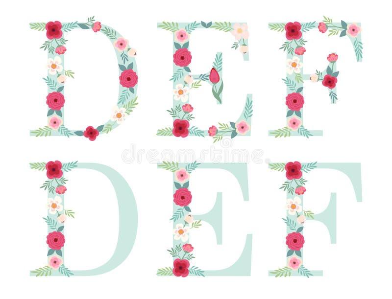 Letras lindas del alfabeto del vintage con las flores rústicas dibujadas mano ilustración del vector
