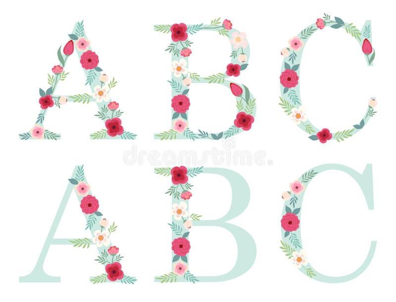 Letras lindas del alfabeto del vintage con las flores rústicas dibujadas mano stock de ilustración