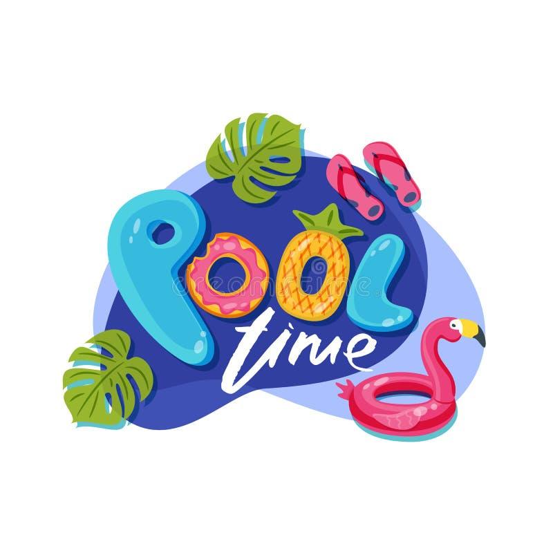 Letras lindas del tiempo de la piscina Etiqueta del vector, etiqueta engomada o diseño de la impresión El flotador del flamenco e ilustración del vector