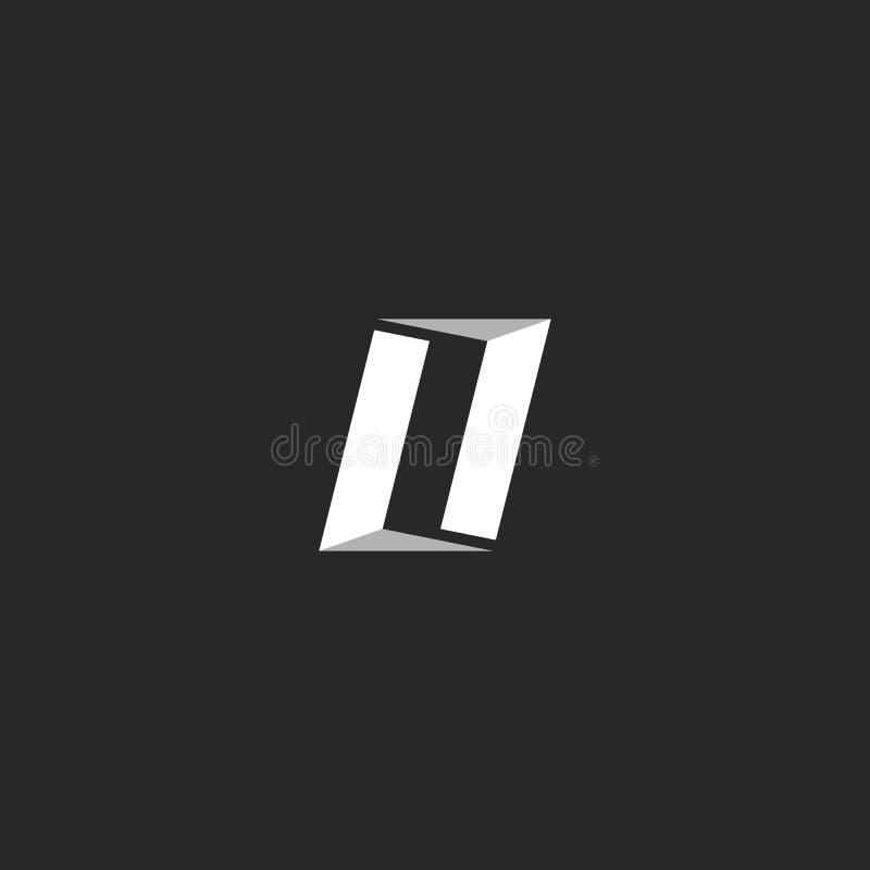 Letras LL, emblema del logotipo o de la combinación dos de la letra O de la puerta abierta de la construcción ilustración del vector