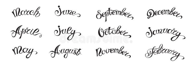 Letras a mano determinadas con los nombres de los meses del año, negros en blanco ilustración del vector