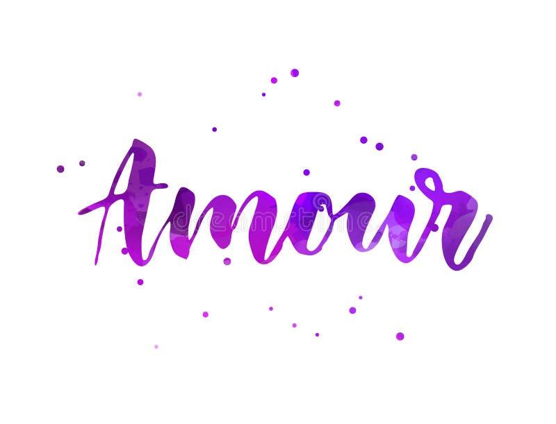 Letras manuscritas amour ilustración del vector