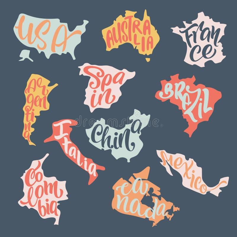 Letras manuscritas con nombres de país inscritas en el silhou libre illustration