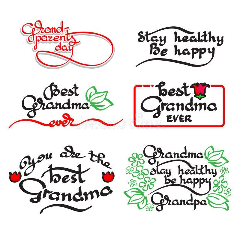 Letras manuscritas de la abuela y del abuelo Sistema del día de los abuelos stock de ilustración