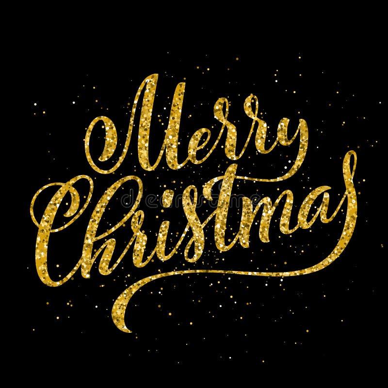 Letras manuscritas de la feliz fiesta de Navidad del oro Plantilla de la tarjeta del diseño de letras Vector stock de ilustración