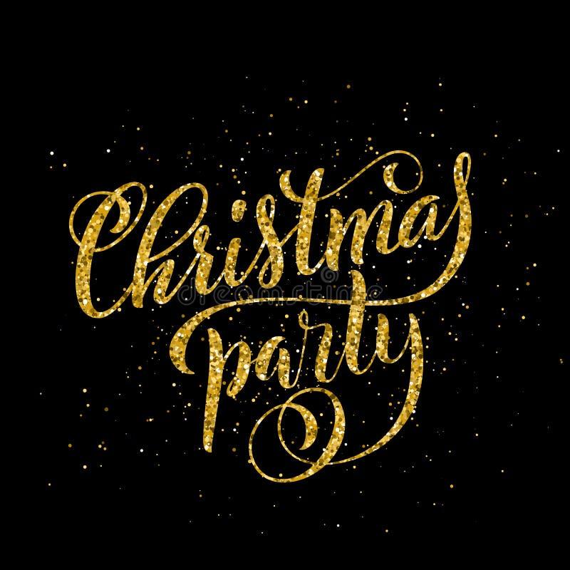 Letras manuscritas de la feliz fiesta de Navidad del oro Plantilla de la tarjeta del diseño de letras Vector libre illustration