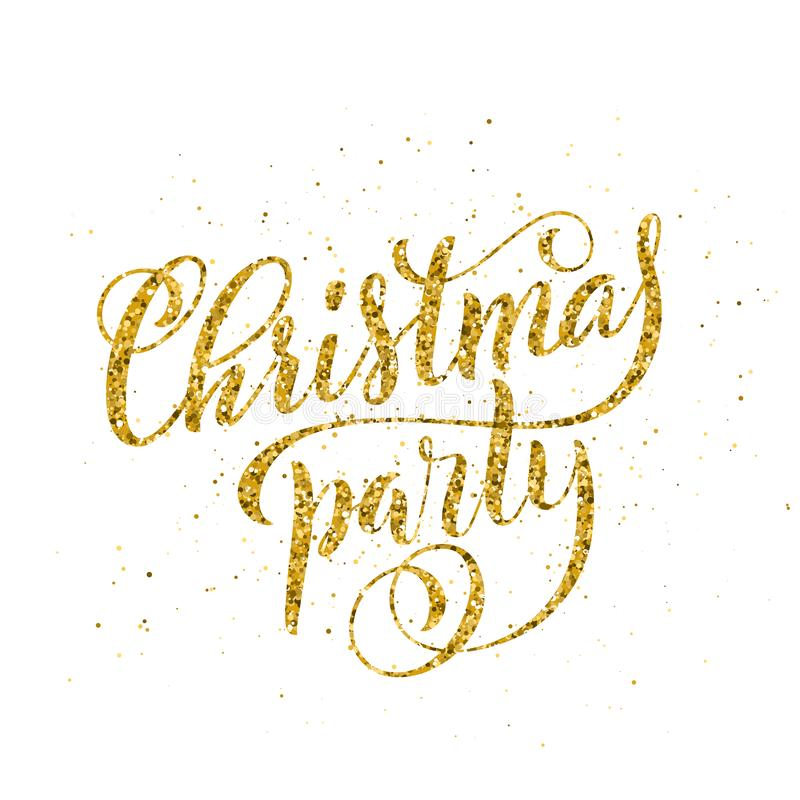 Letras manuscritas de la feliz fiesta de Navidad Plantilla de la tarjeta del diseño de letras Vector libre illustration