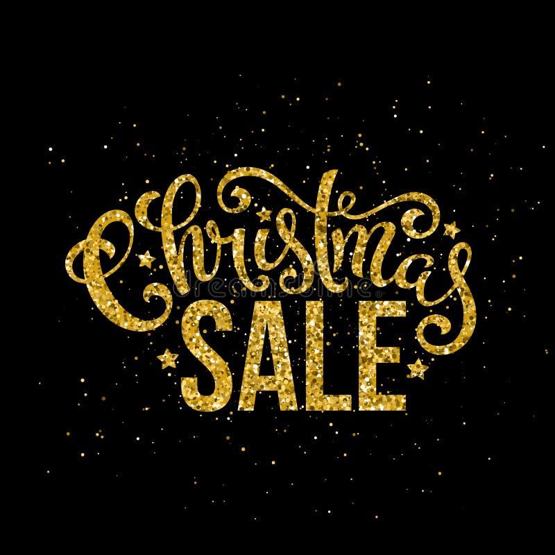 Letras manuscritas de la venta de la Feliz Navidad del oro Plantilla de la tarjeta del diseño de letras Vector stock de ilustración
