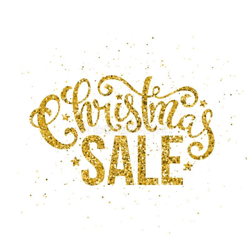 Letras manuscritas de la venta de la Feliz Navidad del oro Plantilla de la tarjeta del diseño de letras Vector libre illustration