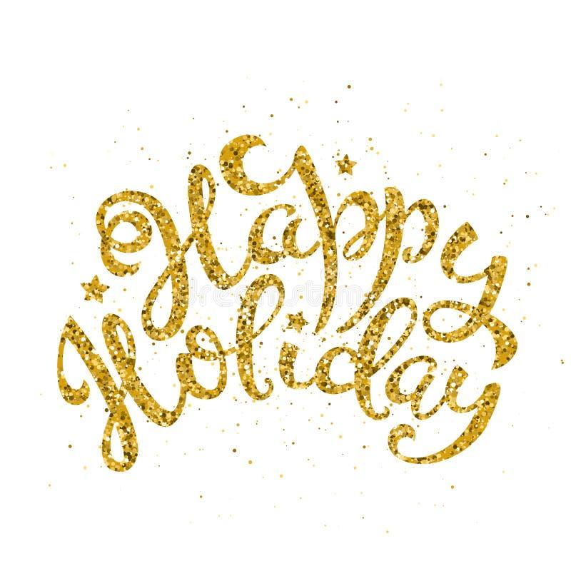 Letras manuscritas del día de fiesta feliz del oro Plantilla de la tarjeta del diseño de letras por Feliz Navidad y Año Nuevo Vec stock de ilustración