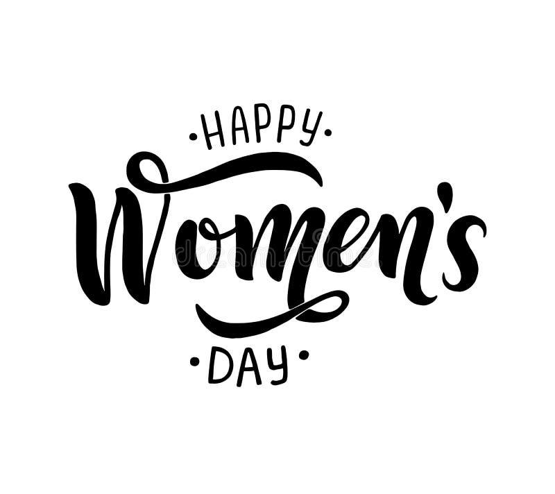 Letras manuscritas del día feliz de las mujeres s stock de ilustración
