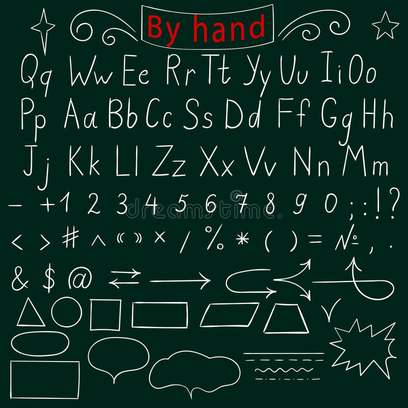 Letras manuscritas, número, caracteres, formas Alfabeto inglés Drenaje a mano Ilustración del vector stock de ilustración