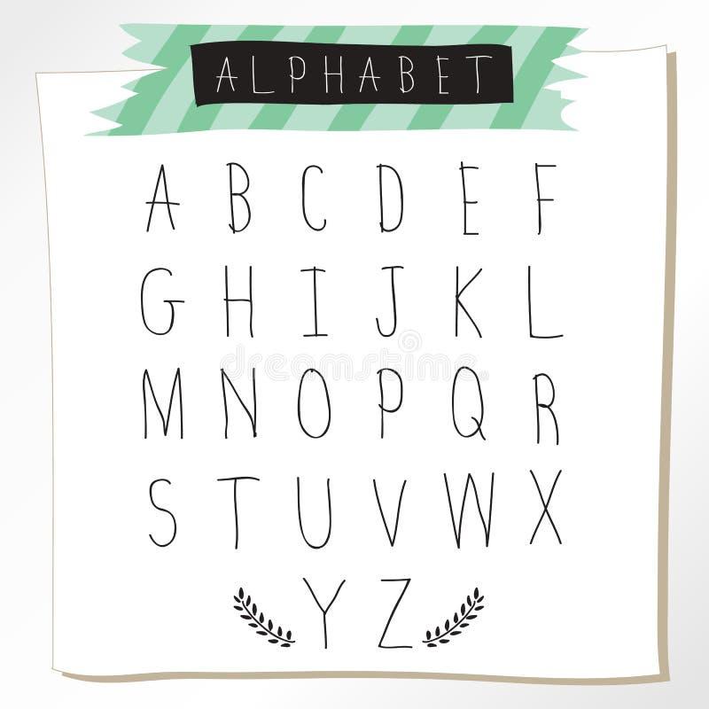 Letras mayúsculas de la tiza del alfabeto negro del lápiz Mano dibujada escrita libre illustration