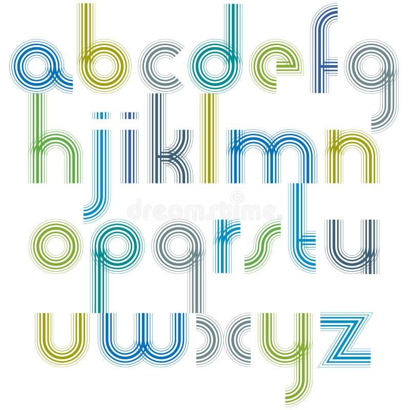 Letras minúsculas coloridas com cantos arredondados, luz animado ilustração stock