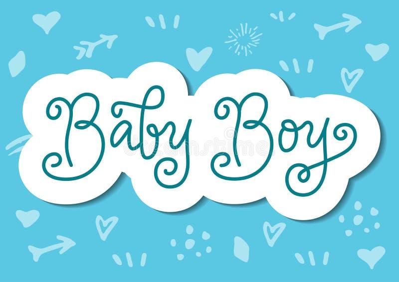 Letras modernas de la caligrafía del bebé en azul con el esquema blanco en el estilo cortado de papel en fondo azul ilustración del vector