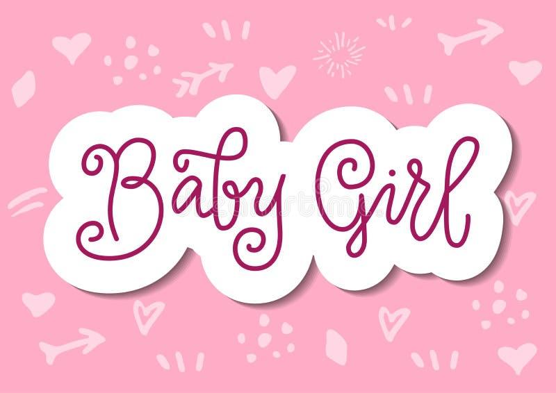Letras modernas de la caligrafía del bebé en rosa con el esquema blanco en el estilo cortado de papel en fondo rosado stock de ilustración