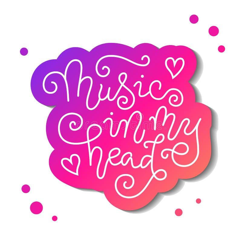 Letras modernas de la caligrafía de la música en mi cabeza en blanco con el esquema rosado en blanco con los puntos stock de ilustración