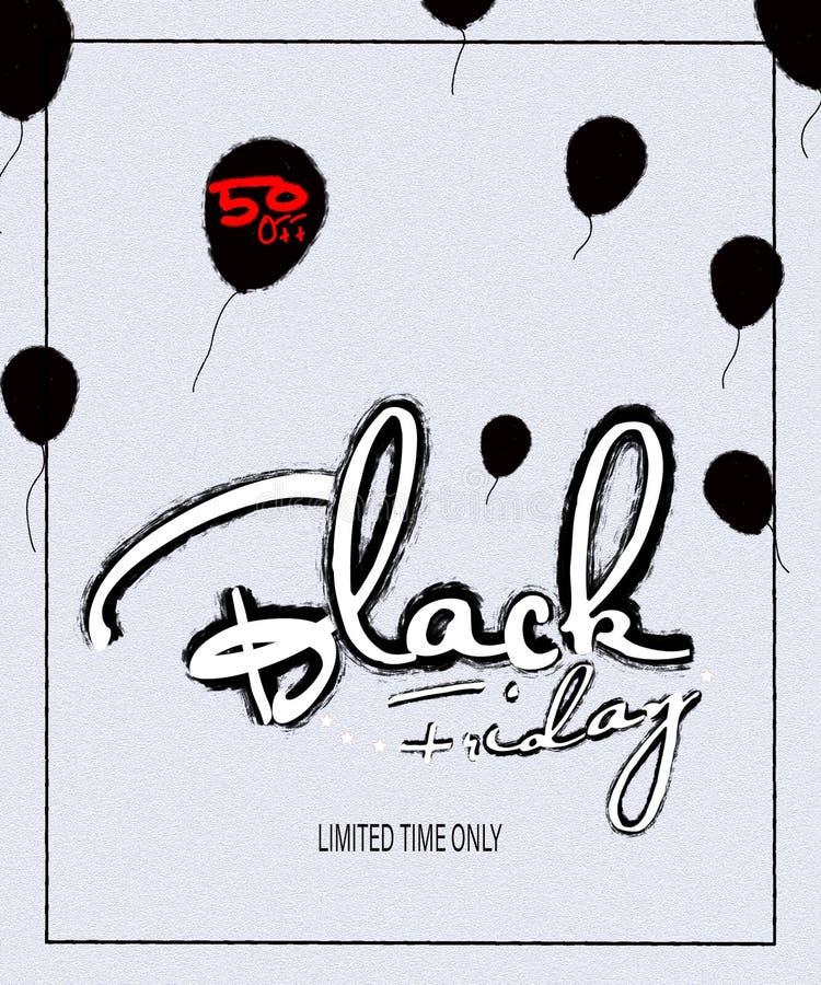 Letras modernas manuscritas de Black Friday, cartel del cepillo de la venta de Black Friday en el fondo blanco con el capítulo cu libre illustration