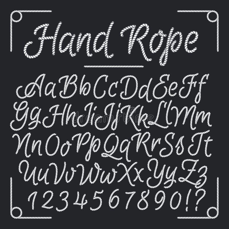 Letras náuticas da corda da mão Alfabeto da linha do vetor ilustração do vetor