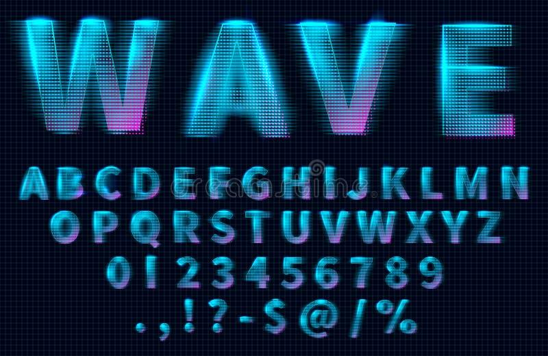 Letras, números e símbolos do holograma de HUD ilustração do vetor