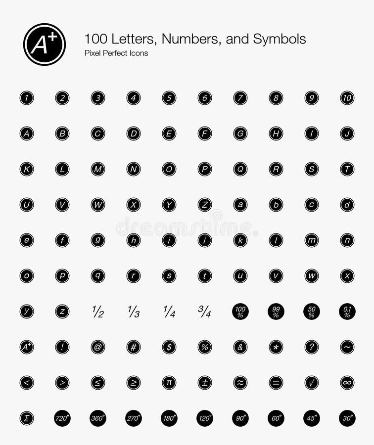 Letras, números, e símbolos redondos ilustração royalty free