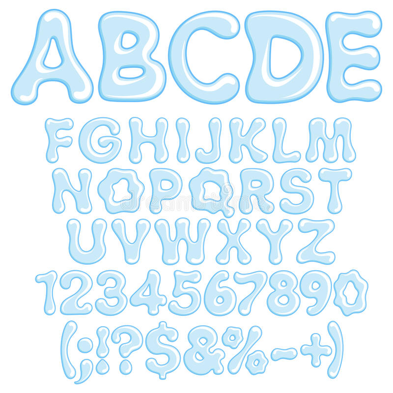 Letras, números y símbolos del agua libre illustration