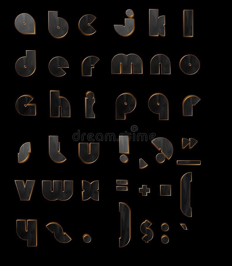 Letras negras 3D del oro stock de ilustración