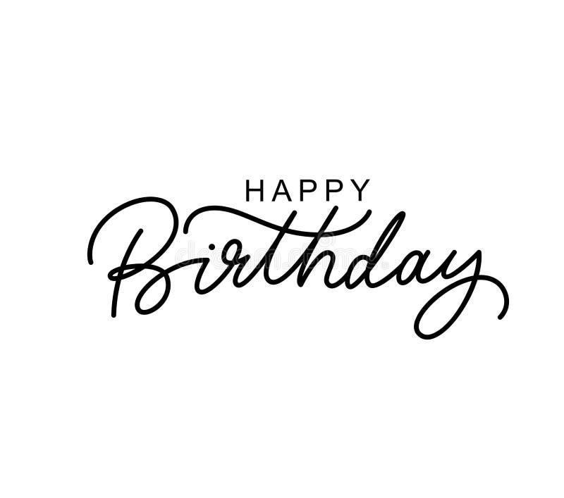 Letras negras exhaustas de la mano del feliz cumpleaños libre illustration