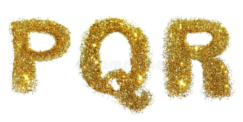 Letras P, Q, R de la chispa de oro del brillo en el fondo blanco imagen de archivo libre de regalías