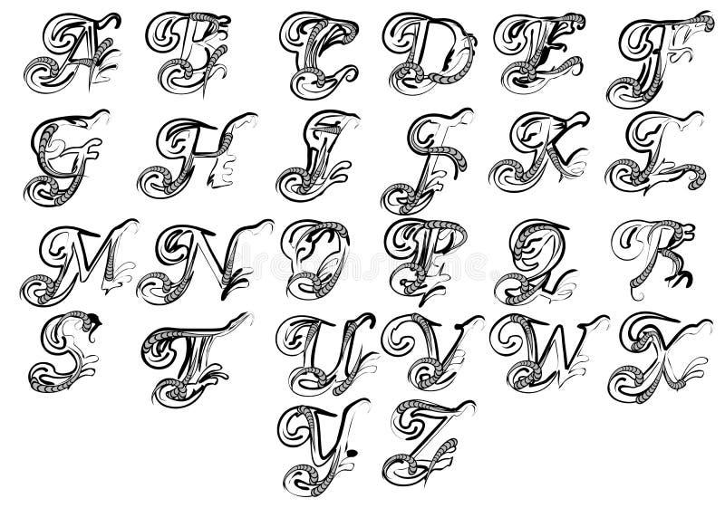 Letras para o monograma e as iniciais ilustração royalty free