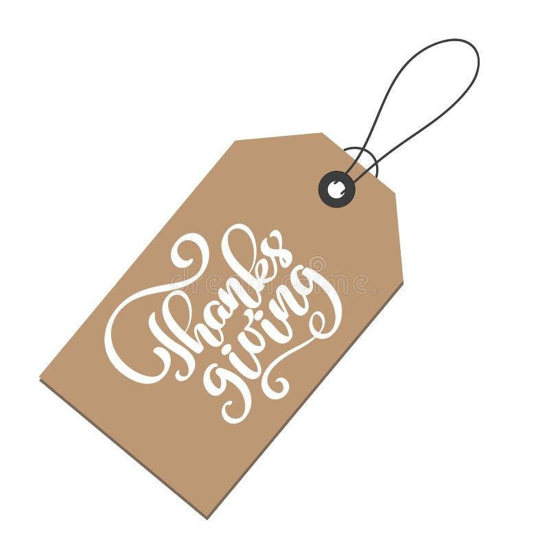 Letras positivas de la cita de la acción de gracias en la etiqueta de Kraft Texto de la caligrafía para la tarjeta de felicitació libre illustration
