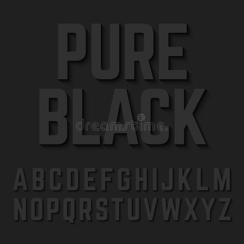 Letras pretas puras do alfabeto ilustração stock