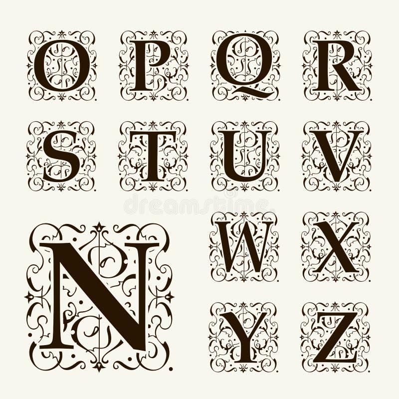 Letras principais, monogramas e fonte ajustados do vintage ilustração do vetor