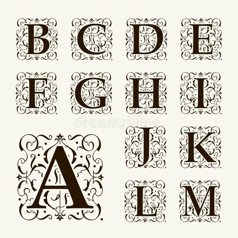Letras principais, monogramas e fonte ajustados do vintage ilustração royalty free