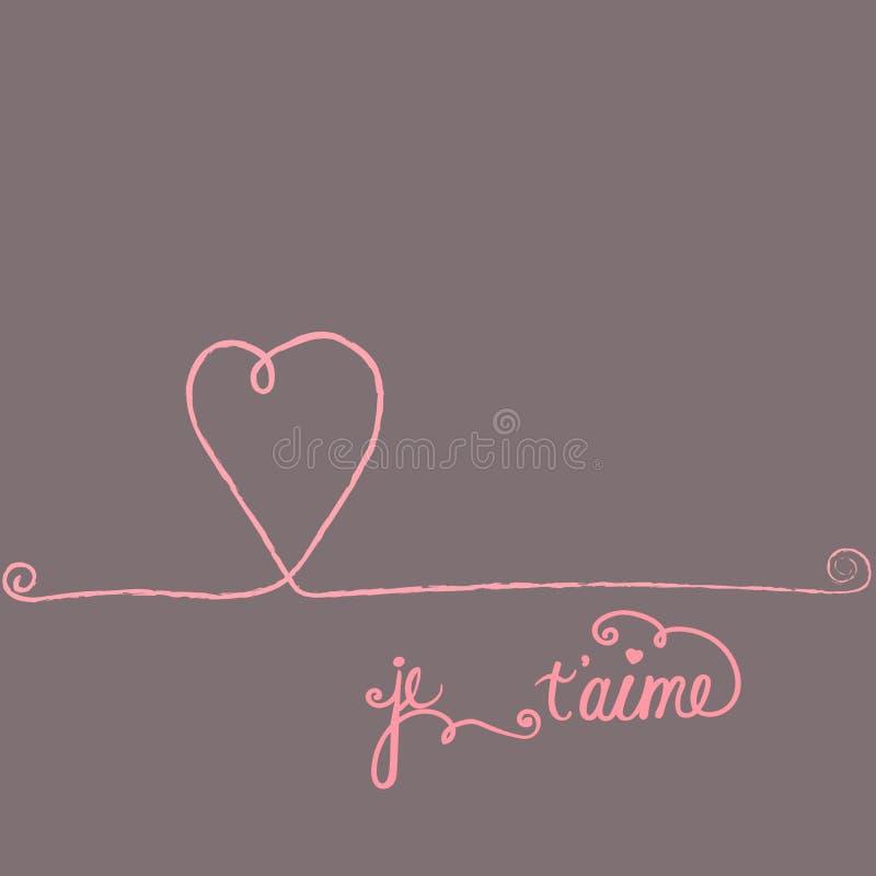 Letras a pulso del aime del ` de Je T de la tarjeta de felicitación del vector del garabato en francés te amo Detalles decorativo ilustración del vector