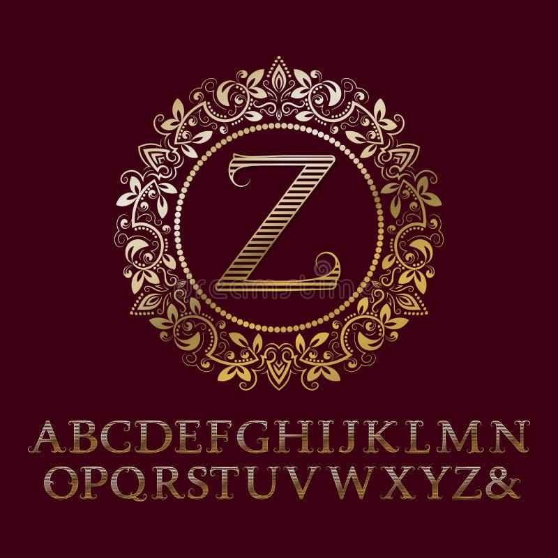 Letras rayadas del oro con el monograma de la inicial de Z Fuente barroca del estilo stock de ilustración