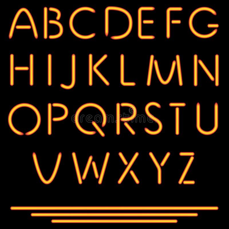Letras realistas del tubo de neón. Ejemplo del vector. Alfabeto de neón. ilustración del vector