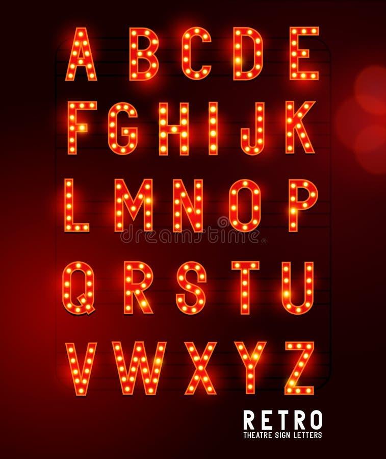 Letras retras de la iluminación del teatro ilustración del vector