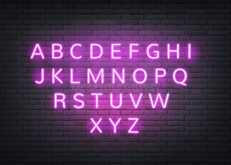 Letras retros do alfabeto de néon do vetor na parede de tijolo ilustração royalty free