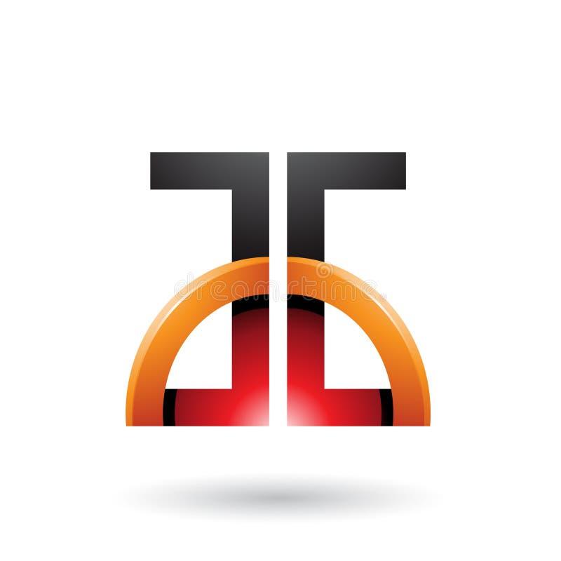 Letras rojas y anaranjadas A y G con un semi-círculo brillante aislado en un fondo blanco stock de ilustración