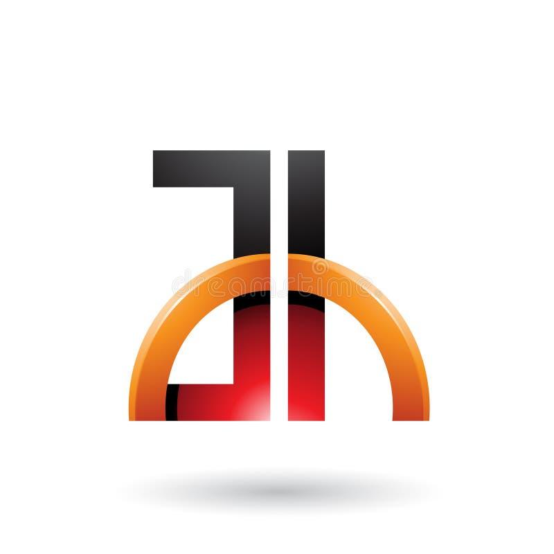 Letras rojas y anaranjadas A y H con un semi-círculo brillante aislado en un fondo blanco stock de ilustración