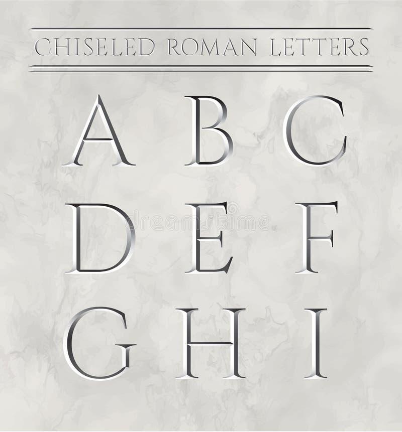 Letras romanas cinceladas en la piedra de mármol stock de ilustración