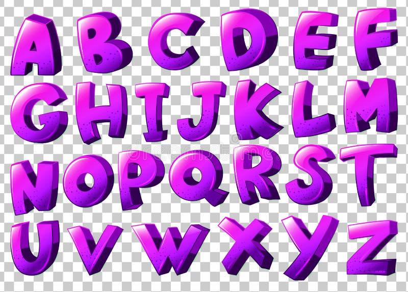Letras roxas do alfabeto ilustração stock