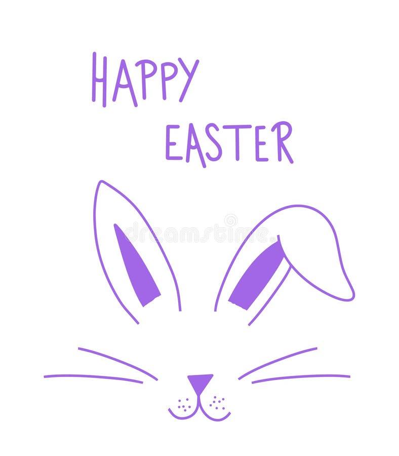 Letras simples del día feliz violeta de pascua con la cara del conejito Diseño gráfico de la postal o del cartel de la caligrafía libre illustration